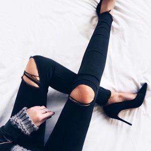 Black Classic D'Orsay Pointy Toe Stiletto Heels